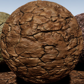 PBR material with high resolution (2048x2048): Cracked soil meterials consisting of 40 units.