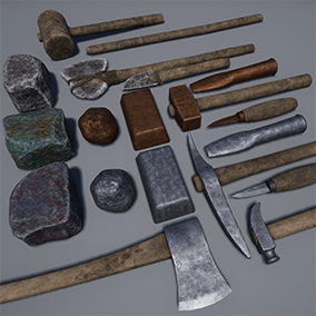Pack contains tools from Ancient to Medieval ages in smooth progression, should perfectly fit in Crafting systems.