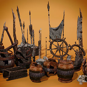 A collection of various crates, pots, and spears based on old maritime locations.