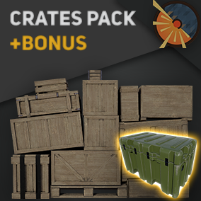 13 3D crates with high-res PBR Textures and optimized unique Material. + Bonus rigged weapon case.