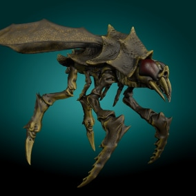 Low-poly model creature Crawling and Flying Shrimp Monster V3; Ready to game