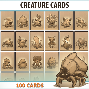 Set of 100 hand drawn Creature Cards.