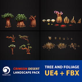 Package of Crimson Desert Landscape Tree and Foliage in UE4 and FBX