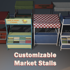 Market stall with customizable elements: Stall base, top with image, top with cloth asset, front section, spices for front section.