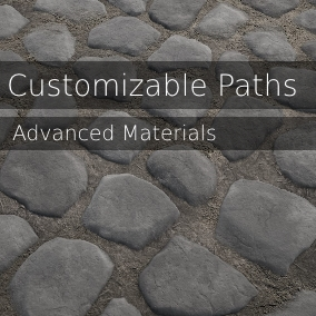 This pack includes 36 ground material instances that make it possible for you to combine and customize up to 11 unique textures made for path creation. These textures include dirt, grass, cobblestone, sand, gravel, and snow.