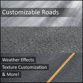 From concrete, asphalt, or tarmac for rain, snow, or shine, these high quality road materials can suit just about any project's needs for roads. Even edit their lane markings or remove them completely!