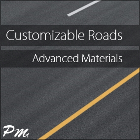 This road material pack includes 61 material instances for concrete, cobblestone, asphalt, cement, tarmac, and snow, which can be customized to fit into your own unique environments - with or without lane markings. Decals now included!