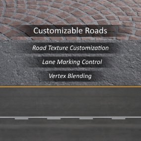 From concrete, asphalt, brick, cobblestone, or tarmac for rain, snow, or shine, these high quality road materials can suit just about any project's needs for roads. Even edit their lane markings or remove them completely!