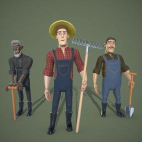 Low-poly customizable Stylized Farmer