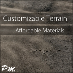 Customizable Terrain is a material asset pack that includes 16 unique landscape texture sets for you to customize.