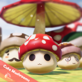 Cute Mushrooms 3D Characters With 5 Animations.