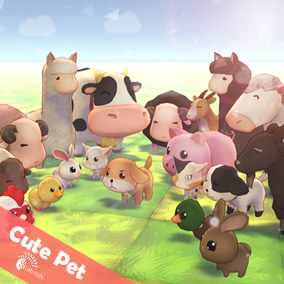 Cute Pet 3D Characters And 6 Animations.