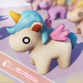 Cute Unicorns Low-Poly with 31 colors of the rainbow and 11 Animations, Easy to customize eyes textures.