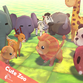 Cute Zoo 3D Characters And 6 Animations.