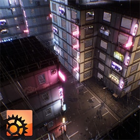 A set of modular elements to create sci-fi city with interiors of any size. Houdini generator for automatic city creation and infinite layout variations with single button press.