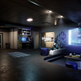 Interior in futuristic style, with kitchen, toilet and shower.