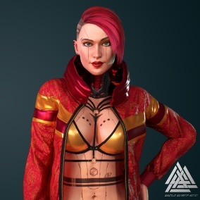 Modular, customizable, high quality girl for your project. The first of a series of cyberpunk fashion.