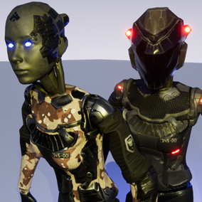 CyborgGirl -characters with helmets and some variants of materials