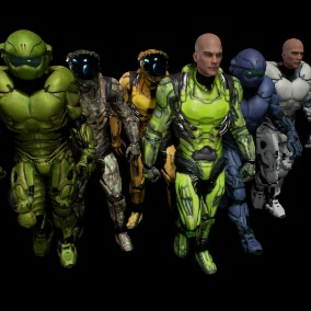 scifi lowpoly game characters