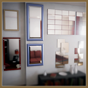 This is a set of 32 mirrors for game decor and architectural visualization.