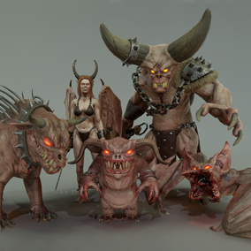 This pack gathers 5 demon characters ready to populate your heroic fantasy project.