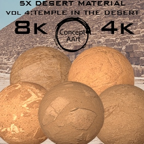 5 AAA Quality Desert Materials for all platforms. All Textures have their own 8K,4K,2K and 1K version and ready for every kind of project.