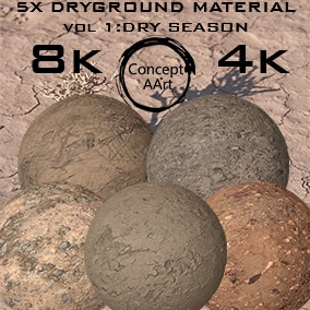 5 AAA Quality Dry Ground Materials for all platforms. All Textures have their own 8K,4K,2K and 1K version and ready for every kind of project.