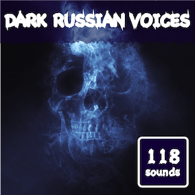 Library of voice phrase sounds in Russian in a dark style.