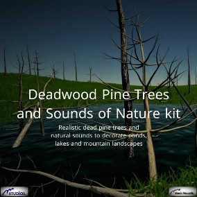 Realistic dead pine trees and natural sounds to decorate ponds, lakes and mountain landscapes