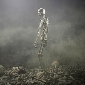 Skeleton character with fun little scene, AI, bone props and fx.