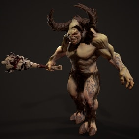 Low-poly game ready model of the character Demon 1