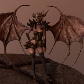 Low-poly model of the character Demon Lilith