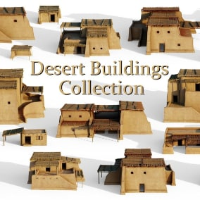 A collection of nine desert buildings. Inspired by ancient Egyptian shanty's, huts and shelters.