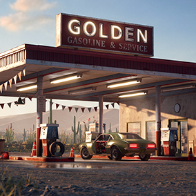 Desert gas station with large scale terrain, modular design, tweakable materials and dynamic lighting