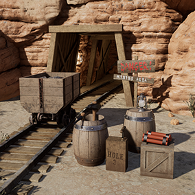 Various desert environment and mine assets.