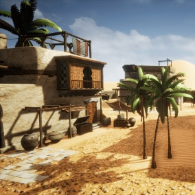 Complete Desert Oasis scene with 44 game-ready models, including 3 desert houses and additional decorative props, like canopies, balconies, pots, barrels, palms and others.