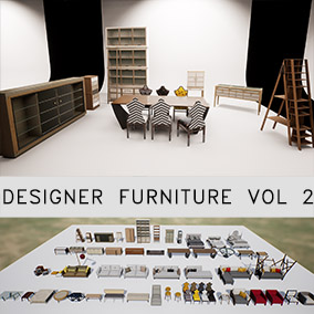 54 designer furniture meshes for your visualization needs. Optimized for Realtime.