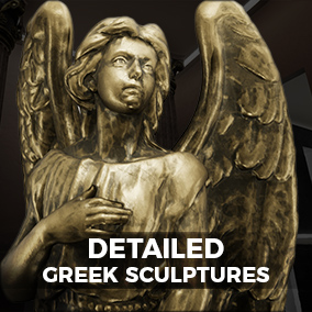 A set of 6 highly detailed Sculptures, each with an assortment of materials, placed within a photorealistic display environment.