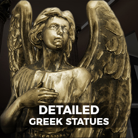 A set of 6 highly detailed Statues, each with an assortment of materials, placed within a photorealistic display environment.