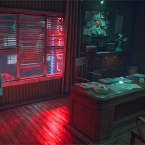 A noir theme detective office with exterior design.