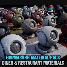 A collection of high quality game ready materials that are perfectly suited for a Diner / Restaurant / Cafe. This pack is created to work perfectly with all other Grimmsorg Studios products.