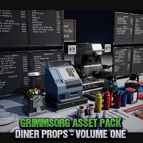 A collection of high quality game ready assets that are perfectly suited for a Diner / Restaurant / Cafe. This pack is created to work perfectly with all other Grimmsorg Studios products.