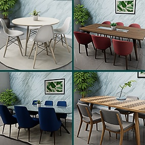 Highly optimized realistic Dining Tables and chairs pack.