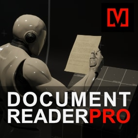 A key component for environmental storytelling as seen in many AAA games. Let documents scattered in your level tell the story, with the included cinematic inspection and reading mode.