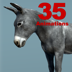 Donkey Skeletal Mesh with 35 animation set