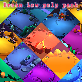 12 kinds of cartoon dream low poly environment demonstration Demo, including color schemes for each environment.