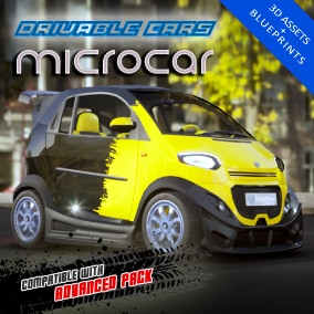 Drivable micro car, including 4 LOD levels. Compatible with Advanced Pack