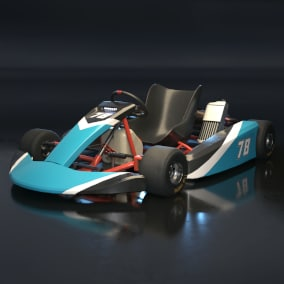 Drivable Gokart with changeable color, lights and animations.