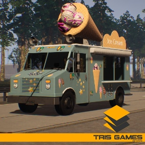 There are 2 different trucks in this vehicle package, one of them is an ice cream truck and the other is a normal cargo truck.