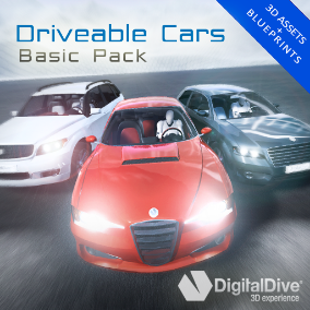 GTA style driveable cars for Unreal Engine 4, including three basic models (Hatchback, Sedan and SUV), each one with four LOD levels and unique properties. Now with VR support